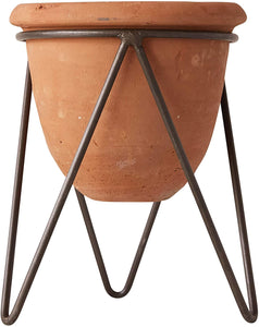 Terracotta Pot with Metal Stand - Little Red Barn Door