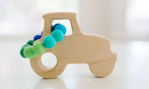 Tractor Wooden Grasping Toy + Teether - Little Red Barn Door
