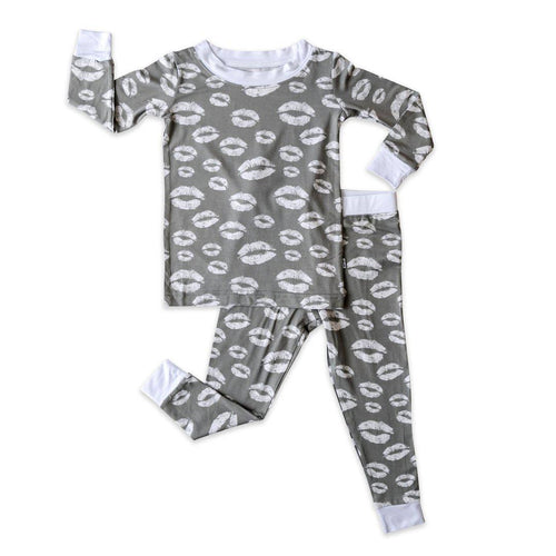 Two Piece Bamboo Pajama Set - Gray Kisses - Little Red Barn Door