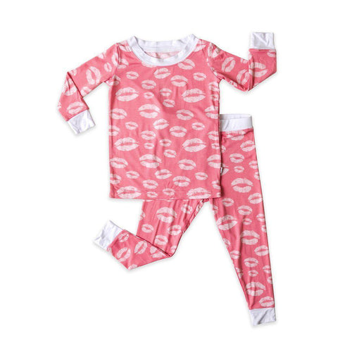 Two Piece Bamboo Pajama Set - Pink Kisses - Little Red Barn Door