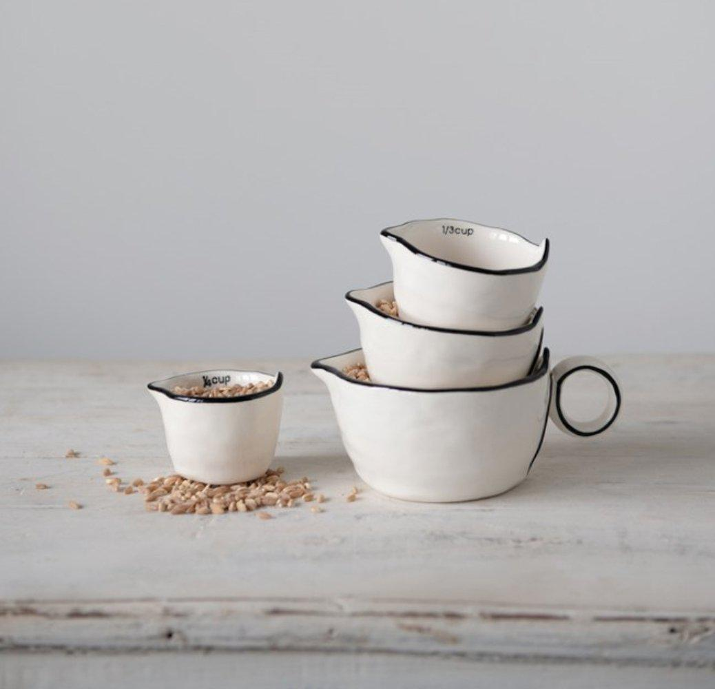 White & Black Measuring Cup Set (4) - Little Red Barn Door