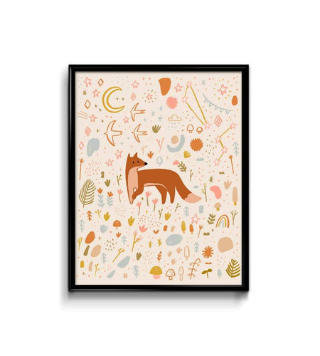 Woodland Fox Art Print - 8x10