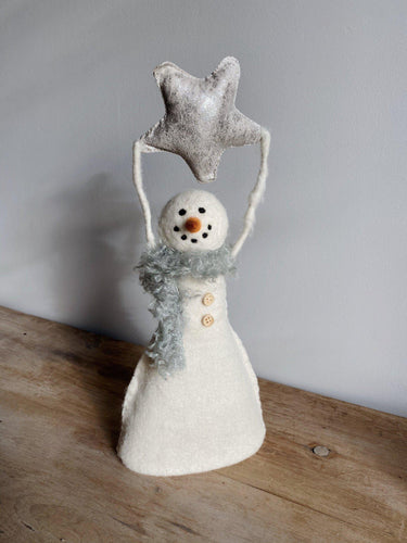 Wool Felt Snowman with Star Tree Topper - Little Red Barn Door