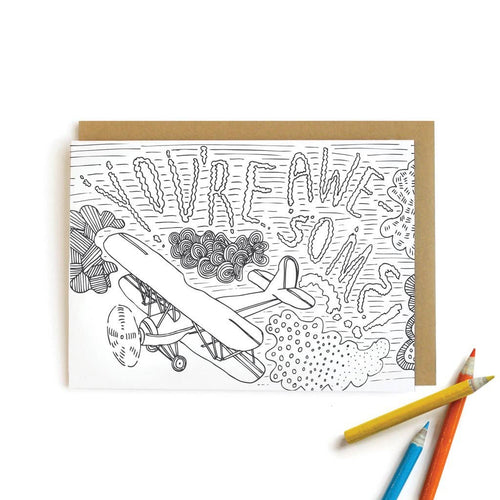 You're Awesome| Kids Coloring Cards - Little Red Barn Door