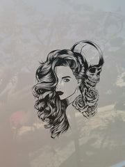 Lady and skull stenciled image