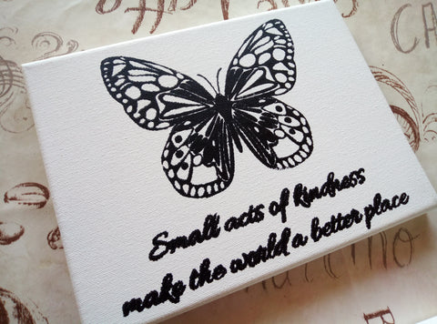 Butterfly stencil on canvas