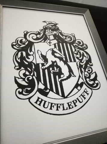 Hufflepuff stencil stenciled on canvas painting