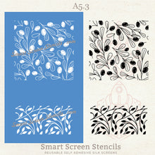 Load image into Gallery viewer, Olive Branches 2 Silkscreen Stencil - Reusable, Adhesive - Canvas, Cards, Glass, Tile, Ceramic, Clay, Fabric, Wood, Metal, Polymer Clay