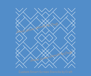 Seamless Art Deco Design SilkScreen Stencil - Reusable, Self Adhesive - Canvas, Cards, Glass, Ceramic, Wall, Fabric, Wood, Polymer Clay, etc