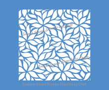 Load image into Gallery viewer, Leaf and Flower Pattern Silkscreen Stencil - Reusable, Self Adhesive - Canvas, Cards, Glass, Ceramics, Wall, Fabric, Wood, Metal, Clay, etc