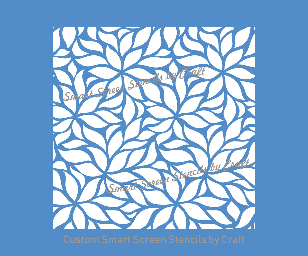 Leaf and Flower Pattern Silkscreen Stencil - Reusable, Self Adhesive - Canvas, Cards, Glass, Ceramics, Wall, Fabric, Wood, Metal, Clay, etc