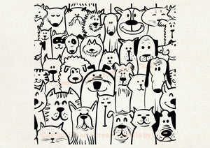 Custom Reusable Cartoon Pets SilkScreen Stencil Craft - Canvas, Cards, Glass, Ceramic, Walls, Fabric, Wood, Tote-bags, Polymer Clay