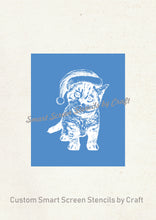 Load image into Gallery viewer, Cute Christmas Kitten Silkcreen Stencil - Reusable, Self Adhesive - Cards, Ceramics, Tile, Glass, Wood, Fabric, Metal, Clay, Textile, etc