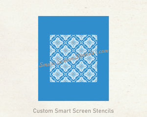 Custom Vintage Seamless SilkScreen Stencil - Reusable, Self Adhesive - Canvas, Cards, Glass, Ceramic, Tile, Walls, Fabric, Wood, Metal, Clay