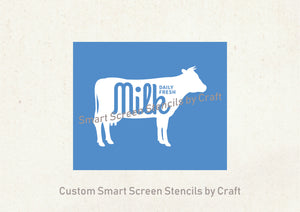 Farm Fresh SilkScreen Stencil - Reusable, Self Adhesive - Canvas, Cards, Glass, Ceramic, Walls, Fabric, Wood, Metal Tote-bags, T-shirts