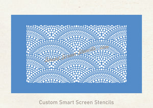Dotted Mermaid Tail Silkscreen Stencil - Reusable, Adhesive, Seamless Design - Canvas, Fabric, Clay, Paper, Metal, Wood, Plastic, Resin, etc