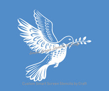 Load image into Gallery viewer, Dove with Olive Branch SilkScreen Stencil - Reusable, Self-Adhesive - Canvas, Cards, Glass, Ceramics, Walls, Fabric, Wood, Clay, Metal