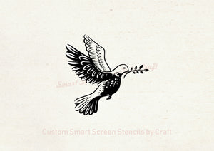 Dove with Olive Branch SilkScreen Stencil - Reusable, Self-Adhesive - Canvas, Cards, Glass, Ceramics, Walls, Fabric, Wood, Clay, Metal