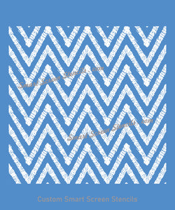 Seamless Ethnic Sown Zigzag SilkScreen Stencil - Reusable, Self Adhesive - Canvas, Cards, Glass, Ceramic, Tile, Wall, Fabric, Wood, Metal