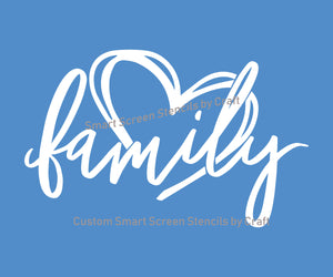 Family Home Us SilkScreen Stencil - Custom, Reusable, Selfadhesive - Canvas, Cards, Glass, Ceramic, Walls, Fabric, Wood, Metal, Tote-bags