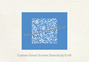 Custom Decorative Floral Silkscreen Stencil - Reusable, Adhesive, Seamless - Canvas, Cards, Glass, Ceramic, Walls, Fabric, Wood, Metal, Clay