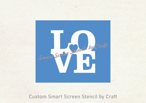 Love Heart SmartScreen Stencil by Craft- Reusable, Self adhesive - Canvas, Cards, Glass, Ceramic, Walls, Fabric, Wood, Plastic, Metal, Clay