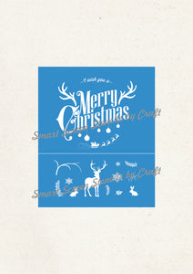 Custom Reusable Silk Screen Christmas Stencil by Craft Imaging - T-Shirts, Ceramic, Tile, Glass, Wood, Tote-bags, Fabric, Pillows, Cards