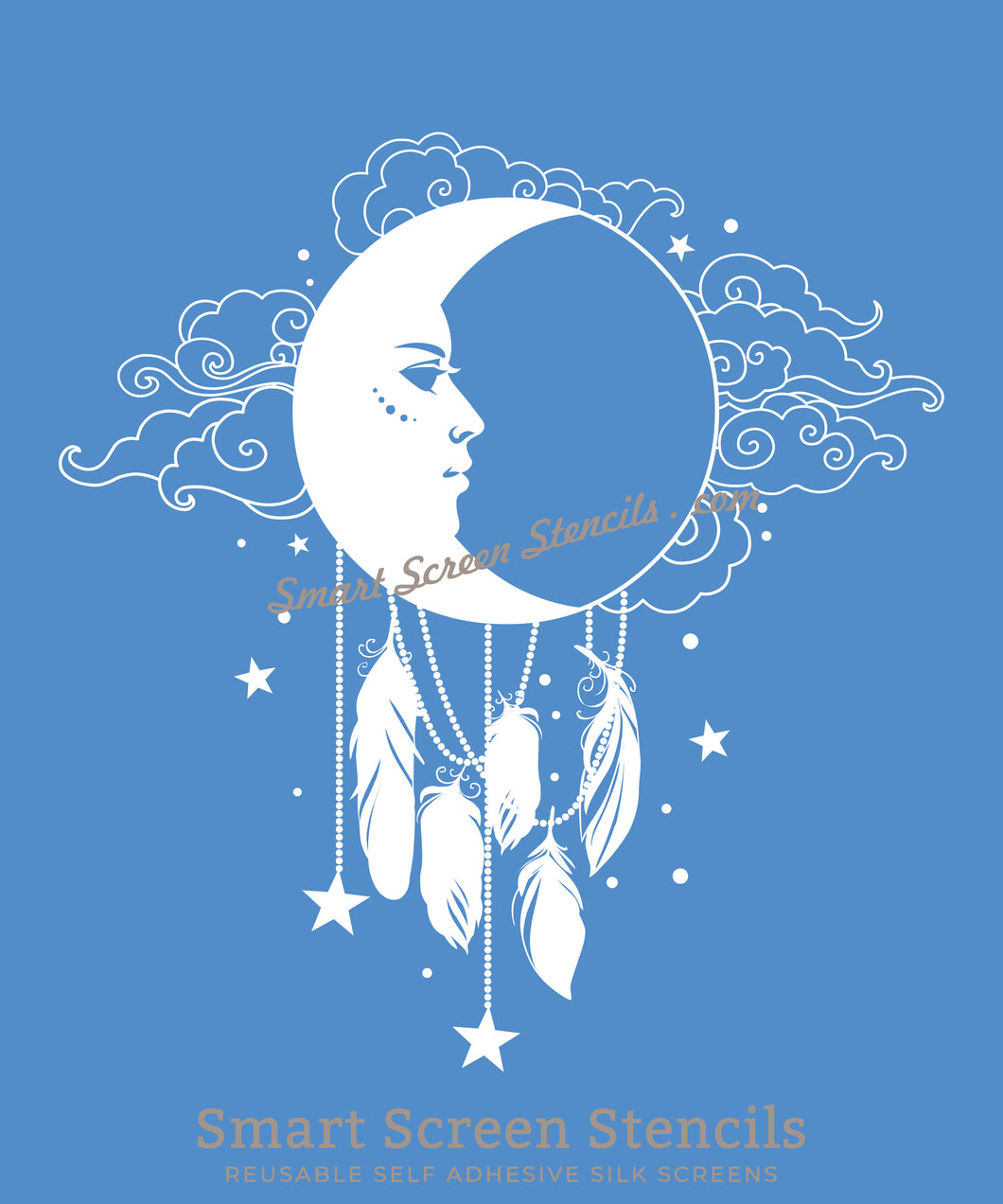 Moon Dreamcatcher SilkScreen Stencil - Reusable, Selfadhesive - Canvas, Cards, Glass, Ceramic, Walls, Fabric, Wood, Metal, Tote-bag, T-shirt