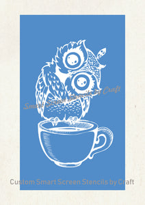 Cute Owl on a Cup SilkScreen Stencil - Reusable, Seamless, Craft - Canvas, Cards, Glass, Ceramic, Walls, Fabric, Wood, Tote-bags, etc.