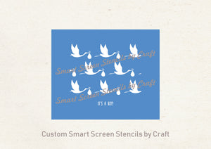 Cute Baby Announcement SmartScreen Stencil - Reusable, Self adhesive - Canvas, Cards, Glass, Ceramic, Walls, Fabric, Wood, Plastic, Metal
