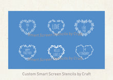 Load image into Gallery viewer, Mix and Match Love Hearts SmartScreen Stencil by Craft - Self adhesive - Cards, Glass, Ceramic, Canvas, Fabric, Wood, Tote-bags, etc