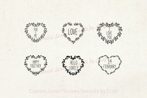 Mix and Match Love Hearts SmartScreen Stencil by Craft - Self adhesive - Cards, Glass, Ceramic, Canvas, Fabric, Wood, Tote-bags, etc