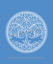 Load image into Gallery viewer, Mother Nature Tree with Border - Custom Reusable SilkScreen Stencil - Canvas, Cards, Glass, Ceramic, Tile, Walls, Fabric, Wood, Clay, etc.