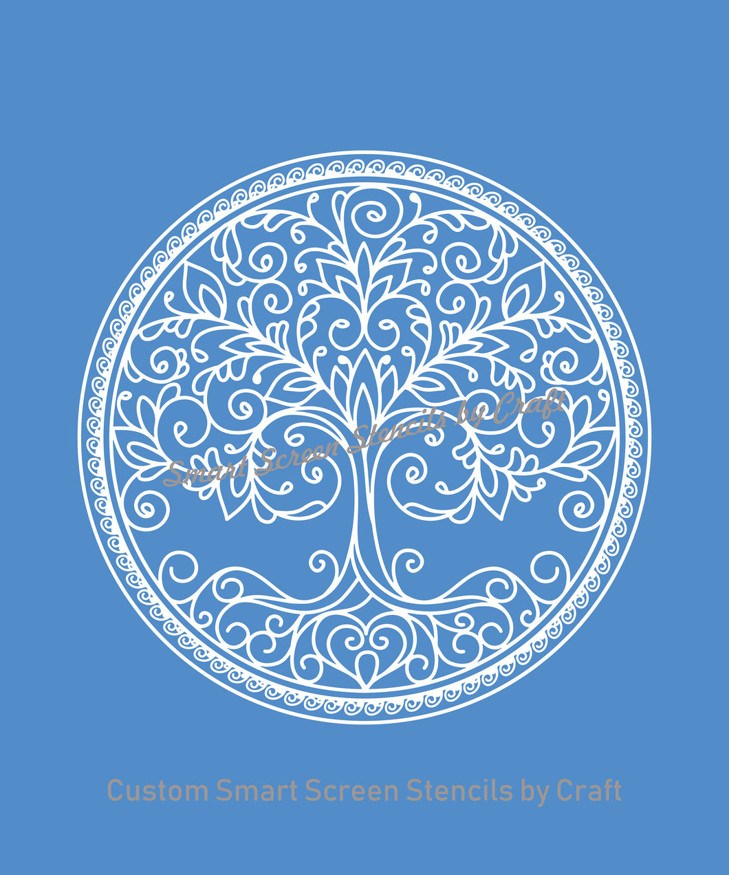 Mother Nature Tree with Border - Custom Reusable SilkScreen Stencil - Canvas, Cards, Glass, Ceramic, Tile, Walls, Fabric, Wood, Clay, etc.