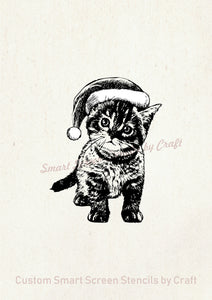 Cute Christmas Kitten Silkcreen Stencil - Reusable, Self Adhesive - Cards, Ceramics, Tile, Glass, Wood, Fabric, Metal, Clay, Textile, etc