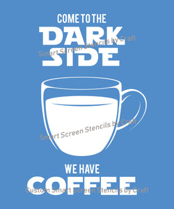 Star Wars Coffee Silk Screen Stencil - Reusable, Self Adhesive -  Fabric, Ceramics, Glass, Wood, Cards, Metal, Clay, Paper, Textile, Canvas