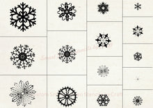 Load image into Gallery viewer, 15 Custom Reusable Snowflakes on a SilkScreen Stencil by Craft - Canvas, Cards, Glass, Ceramic, Walls, Fabric, Wood, Tote-bags, Clay, Metal