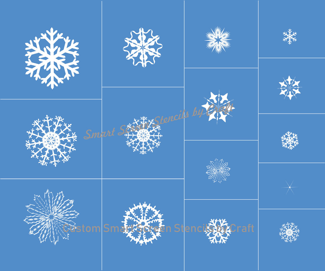 15 Custom Reusable Snowflakes on a SilkScreen Stencil by Craft - Canvas, Cards, Glass, Ceramic, Walls, Fabric, Wood, Tote-bags, Clay, Metal
