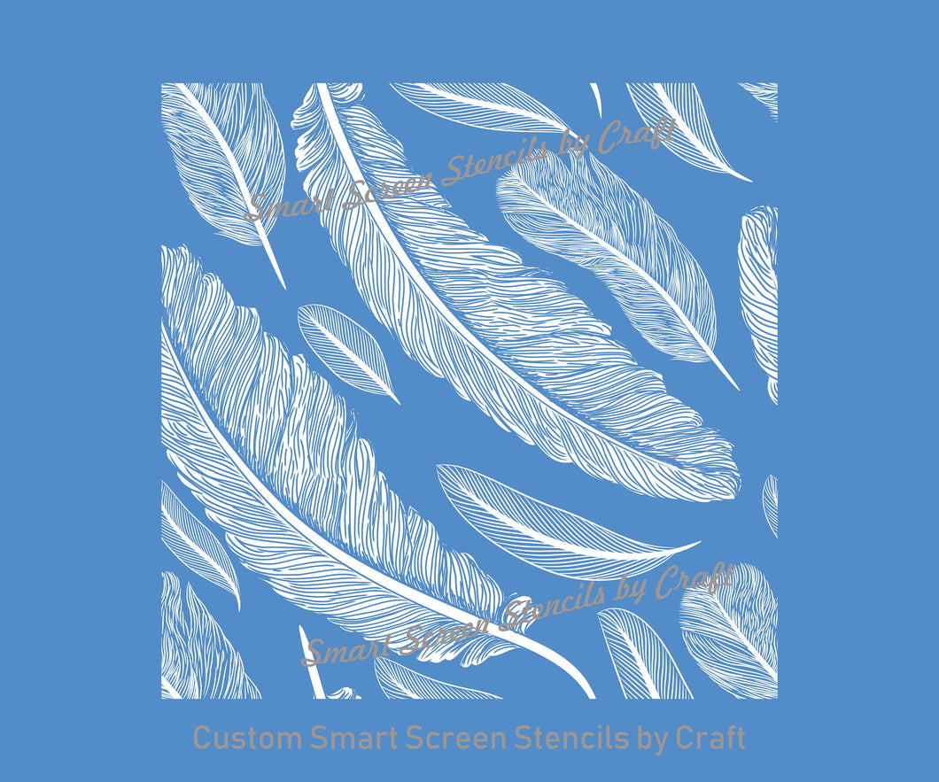 Seamless Custom Feather SilkScreen Stencil - Reusable, Self Adhesive - Canvas, Cards, Glass, Ceramic, Wall, Fabric, Wood, Metal, Clay, Paper