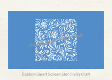 Load image into Gallery viewer, Custom Decorative Floral Silkscreen Stencil - Reusable, Adhesive, Seamless - Canvas, Cards, Glass, Ceramic, Walls, Fabric, Wood, Metal, Clay