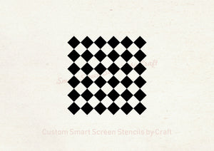 Classic Checkered Pattern SilkScreen Stencil - Reusable, Seamless - Canvas, Cards, Glass, Ceramic, Wall, Fabric, Wood, Metal, Plastic, Paper