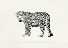 Load image into Gallery viewer, Hand drawn Leopard SilkScreen Stencil - Reusable, Seamless, Craft - Canvas, Cards, Glass, Ceramic, Walls, Fabric, Wood, Tote-bags, etc.