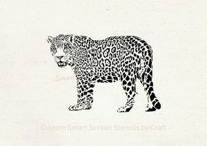 Hand drawn Leopard SilkScreen Stencil - Reusable, Seamless, Craft - Canvas, Cards, Glass, Ceramic, Walls, Fabric, Wood, Tote-bags, etc.
