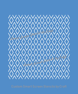 Classic Diamond Pattern SilkScreen Stencil - Reusable, Seamless, Adhesive - Canvas, Cards, Glass, Ceramic, Walls, Fabric, Wood, Polymer Clay