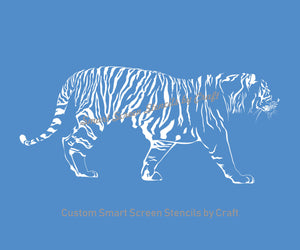 Hand drawn Tiger SilkScreen Stencil - Reusable, Seamless, Craft - Canvas, Cards, Glass, Ceramic, Walls, Fabric, Wood, Tote-bags, etc.