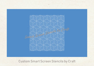 Art Deco 3D Boxes SilkScreen Stencil - Seamless, Reusable, Craft - Canvas, Cards, Glass, Ceramic, Walls, Fabric, Wood, Polymer Clay, Metal
