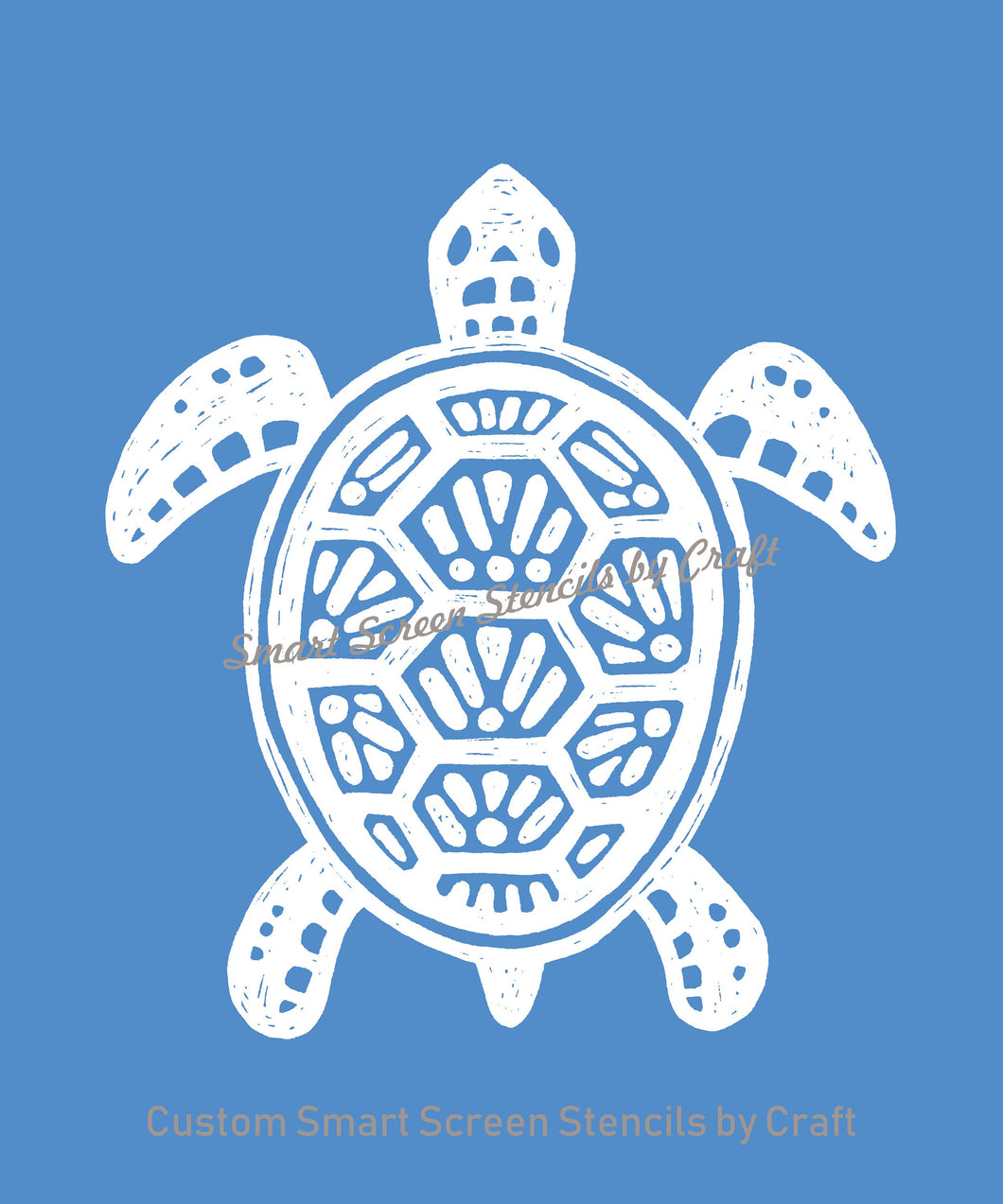 Custom Turtle SilkScreen Stencil - Reusable, Seamless, Craft - Canvas, Cards, Glass, Ceramic, Walls, Fabric, Wood, Metal, Clay, Textile, etc