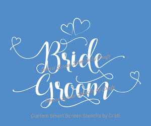 Bride and Groom Silkscreen Stencil - Self adhesive, Reusable, Craft - Canvas, Cards, Glass, Ceramic, Walls, Fabric, Wood, Tote-bags, etc