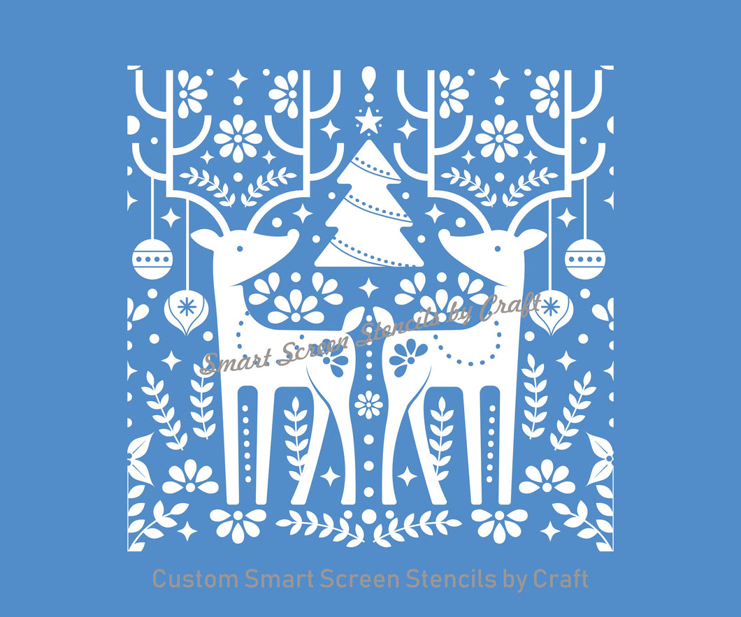 Reusable Nordic Christmas SilkScreen Stencil - Selfadhesive, Seamless - T-Shirts, Ceramics, Mirrors, Glass, Wood, Tote-bags, Fabric, Cards