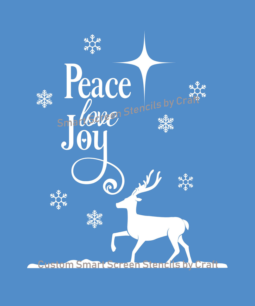 Peace, Love and Joy Christmas SilkScreen Stencil - Reusable, Selfadhesive - Canvas, Ceramics, Mirrors, Glass, Wood, Tote-bags, Fabric, Cards